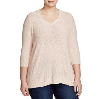 Two by Vince Camuto Womens Plus Pullover Sweater V-Neck Chiffon Back