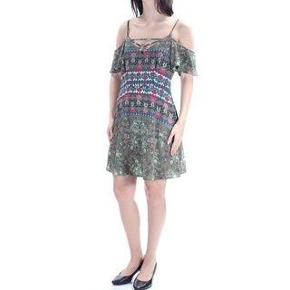 Womens Green Short Sleeve Above The Knee Sheath Casual Dress Size: 7