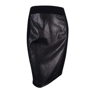 INC International Concepts Women's Faux-Leather-Front Pencil Skirt - Black
