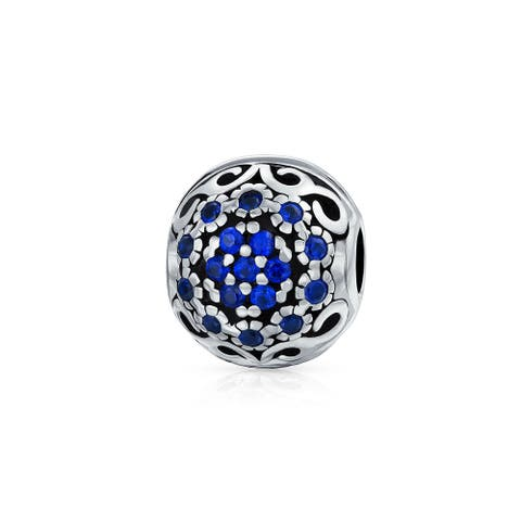 Filigree Blue Crystal Floral Swirl Charm Bead .925 Sterling Silver