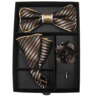 Men's Gold & Brown Striped Bow Tie with matching Hanky and Lapel Flower - One size