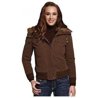 Cripple Creek Western Jacket Womens Aviator Faux Fur Collar CW8215