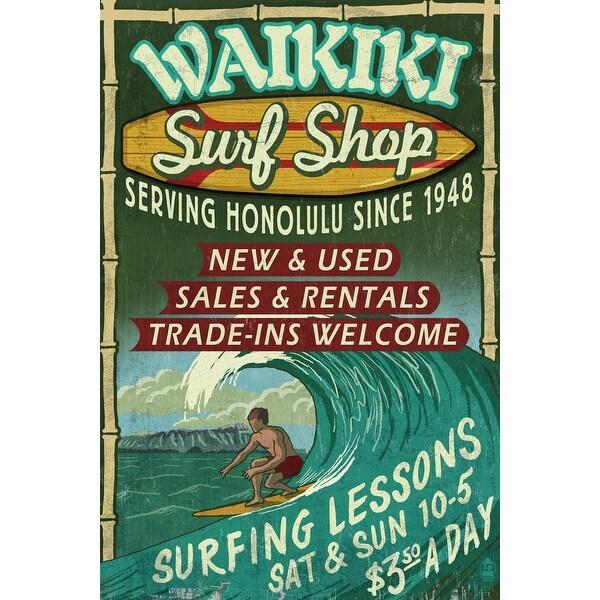 Waikiki Beach HI Surf Shop Vintage Sign LP Artwork (100% Cotton Towel Absorbent)