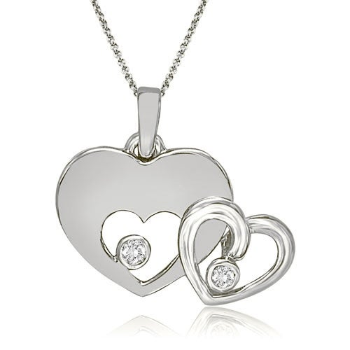 0.20 cttw. 14K White Gold Round Cut Double Heart Shape Pendant