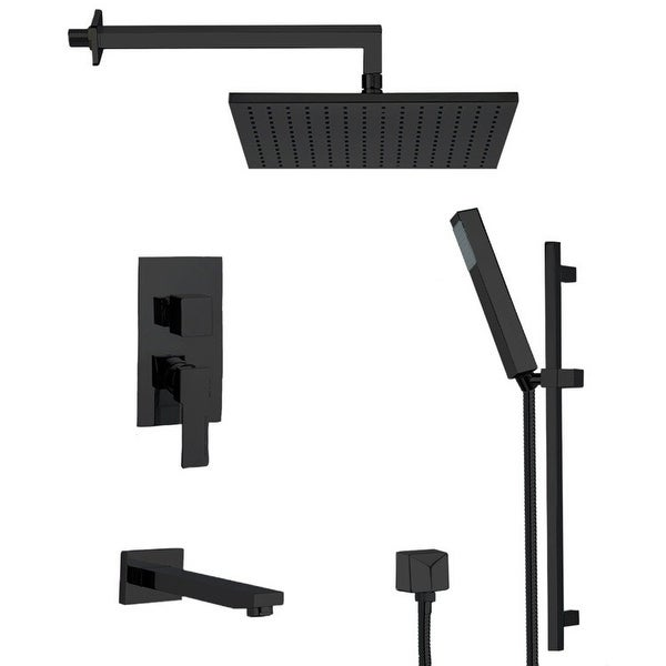 Nameeks TSR9512 Remer Shower Tub and Shower Trim Package with Single Function Rain Shower Head, Hand Shower, Slide Bar, and