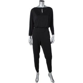 Lauren Ralph Lauren Womens Drattea Jumpsuit Keyhole Elbow Sleeves