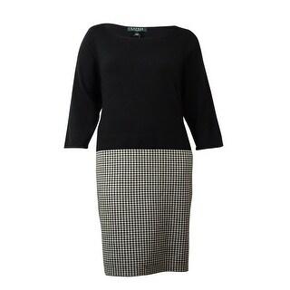 Lauren Ralph Lauren Women's Houndstooth Knit Sheath Dress
