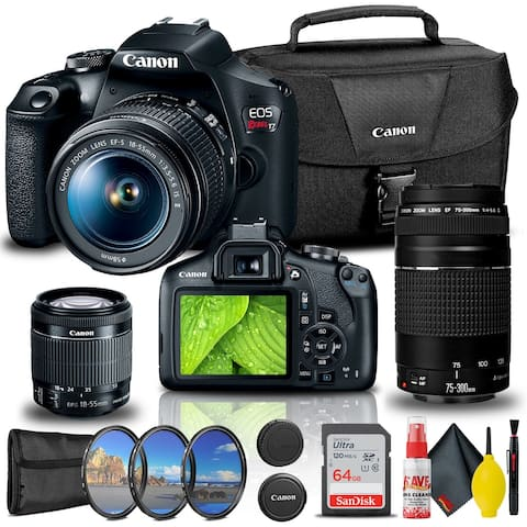 Canon EOS Rebel T7 DSLR Camera with 18-55mm and 75-300mm Lenses +