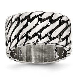 Chisel Stainless Steel Polished Tread Design Ring (11 mm)