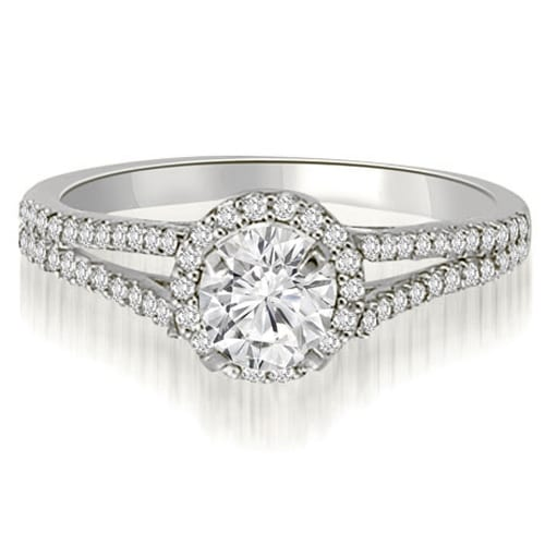 0.85 cttw. 14K White Gold Halo Split-Shank Round Cut Diamond Engagement Ring