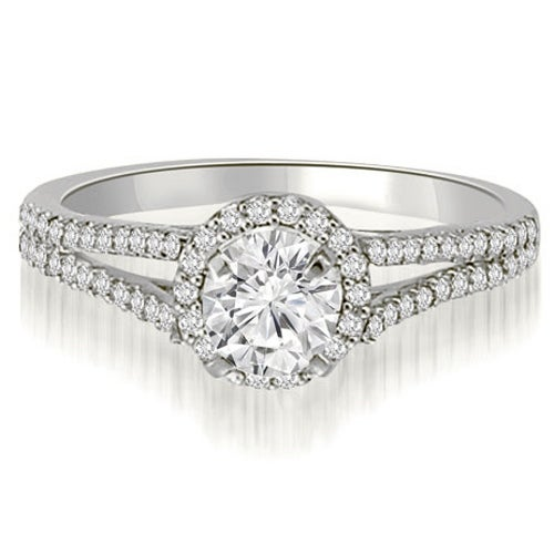 1.35 cttw. 14K White Gold Halo Split-Shank Round Cut Diamond Engagement Ring