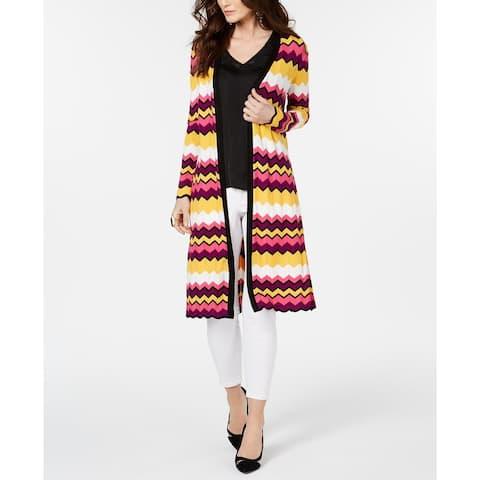 Thalia Sodi Women's Chevron-Stripe Duster Cardigan Multi Size Extra Large - X-Large