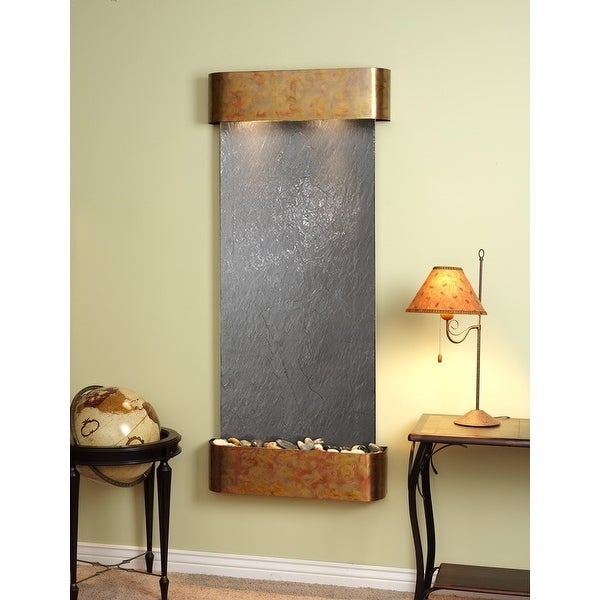 Adagio Inspiration Falls Fountain w/ Black Featherstone in Rustic Copper Finish