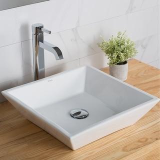 Link to Kraus Elavo 16 inch Square Porcelain Ceramic Vessel Bathroom Sink Similar Items in Sinks