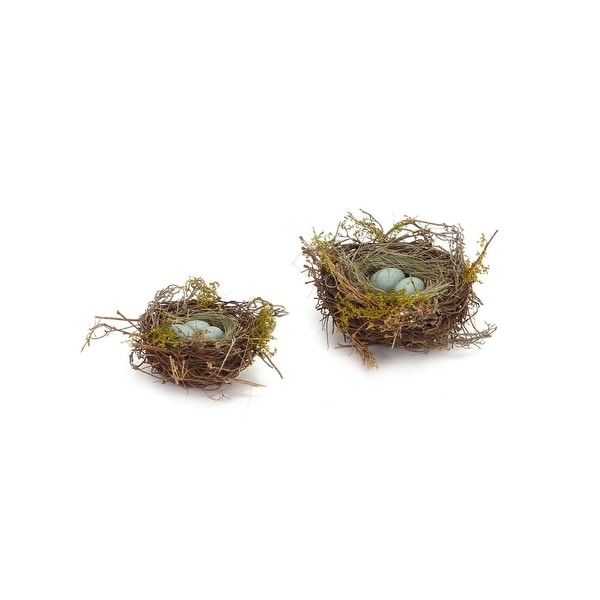 "Pack of 6 Brown, Green and Blue Robin's Nest with Eggs Christmas Decoration 5"" - 7""D"