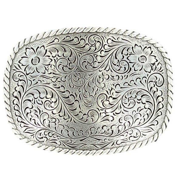 Nocona Western Belt Buckle Rectangle Scallop Floral Silver - 2 3/4 x 3 1/4