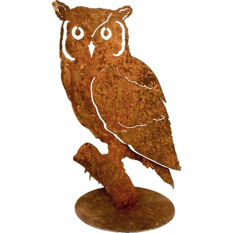California Home and Garden Small Metal Rustic Rust Screech Owl on Base Silhouette, 11 Inch Tall, Brownish Red