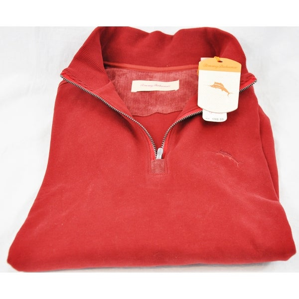 Tommy Bahama Eversuede Red Cadmium Half Zip Large Long Sleeve Sweater