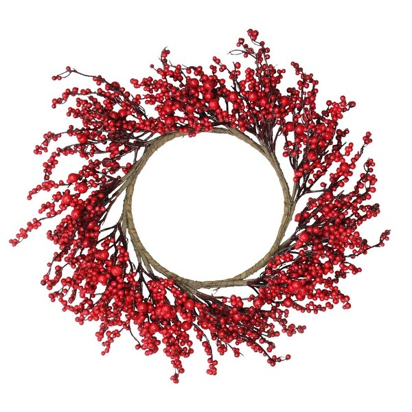 "22"" Festive Red Berries Artificial Christmas Wreath – Unlit - brown"