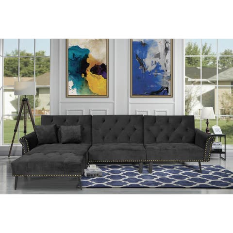 TiramisuBest Rivet Upholstered velvet fabric Sectional Sofa