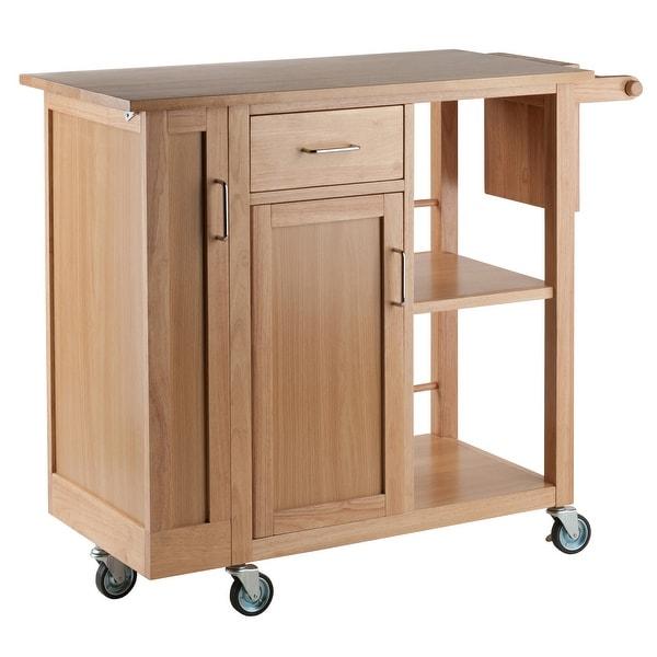 "35.5"" Natural Brown Rolling Douglas Kitchen Cart - N/A"