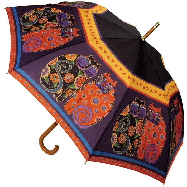 "Laurel Burch Stick Umbrella 42"" Canopy Auto Open-Feline Family Portrait"