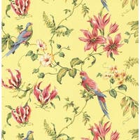 York Wallcoverings CJ2800 Orange and Yellow Book Birds Wallpaper - Yellow/Pink/Green - N/A