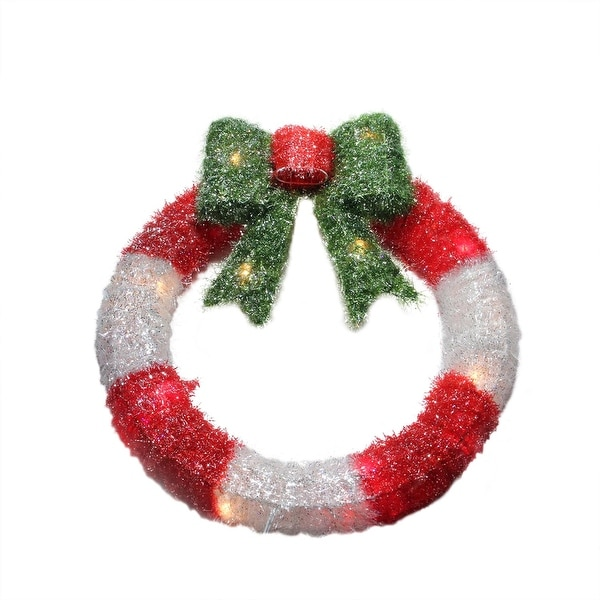 """16"""" Lighted Tinsel Red and White Wreath with Bow Christmas Window Decoration - multi"""