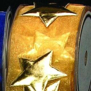 "Gold Stars on Gold Organza Craft Ribbon 2"" x 10 Yards"