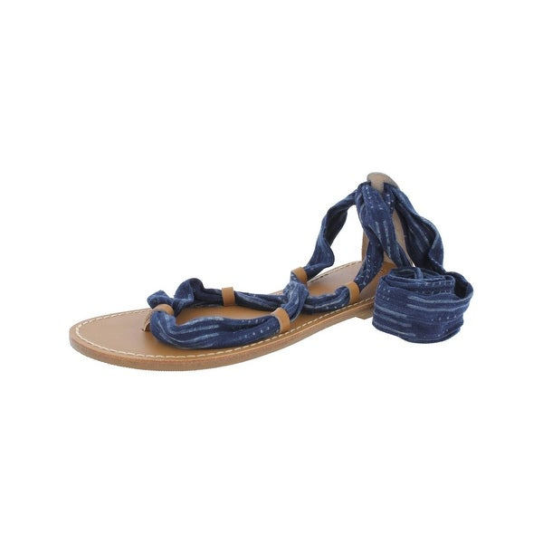 Soludos Womens Flat Sandals Leather Trim Toe Ring
