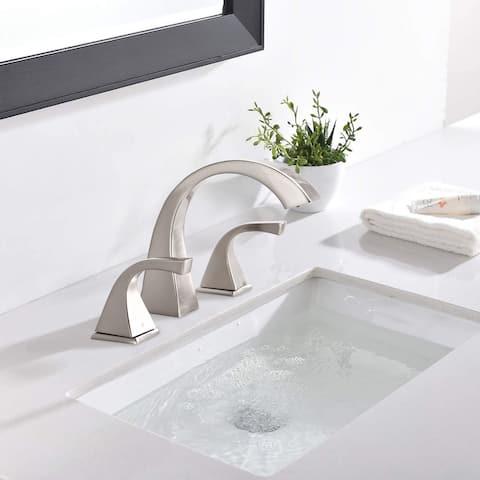 Brushed Nickel 2-Handle Three Hole Widespread Bathroom Faucet