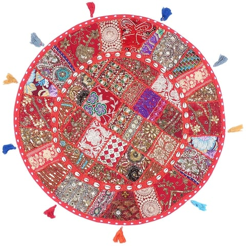 Oussum Home Decor Boho Patchwork/ Seashell Bohemian Round Pillow Cover