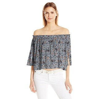 ASTR Anabelle Off The Shoulder Cropped Top Blue/Peach Floral - M