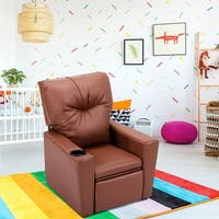 Costway Kids Sofa Manual Recliner Leather Ergonomic Lounge w/Cup Holder Children Gift - Brown
