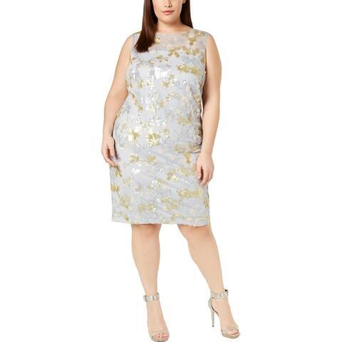Calvin Klein Womens Plus Sheath Dress Sequined Knee-Length - Blue