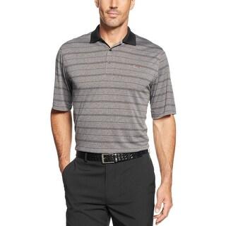 Greg Norman Performance Striped Heather Golf Polo Shirt Dark Grey Small
