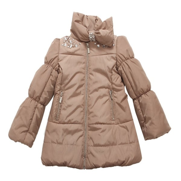 Richie House Baby Girls Brown Bejeweled Padded Coat 24M