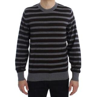 Dolce & Gabbana Dolce & Gabbana Brown Gray Striped Cashmere Pullover Sweater