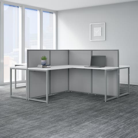 Easy Office 60W 4 Person L Shaped Desk by Bush Business Furniture