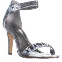 SC35 Tylda Ankle Strap Closed Back Heel Sandals, Silver