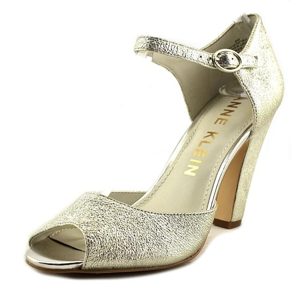 Anne Klein Henrika Women Peep-Toe Canvas Gold Mary Janes