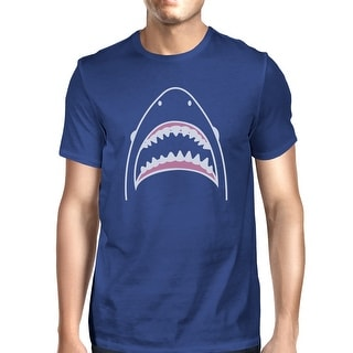 Shark Mens Royal Blue Cotton Short Sleeve Tee Cool Summer T-Shirt