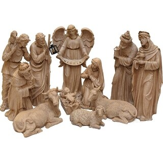 11-Piece Speckled Brown Traditional Religious Christmas Nativity Set 22.75""