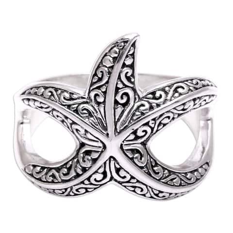 NOVICA Bali Starfish, Sterling silver cocktail ring