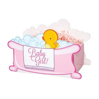 """Pack of 6, Small Baby Girl Bubbles Basket Boxes 8.25 X 4.75 X 6.25"""" As Great Table Centerpieces For Parties"""