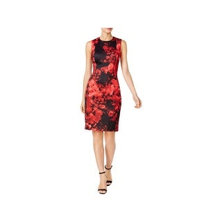 Calvin Klein Womens Wear to Work Dress Scuba Floral