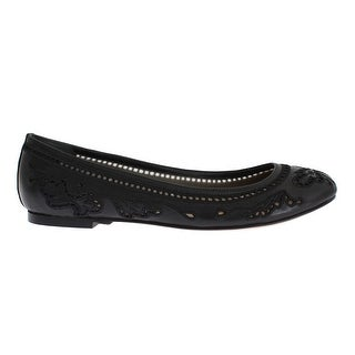 Dolce & Gabbana Black Leather Ricamo Ballet Flat Shoes - 35.5