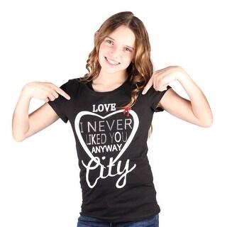 Lori&Jane Girls Black Graphic Print Heart Short Sleeve Top