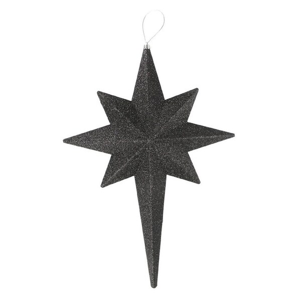 "20"" Jet Black Glittered Bethlehem Star Shatterproof Christmas Ornament"