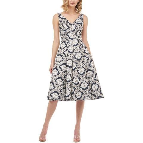 Kay Unger Sleeveless Venetian Jacquard Midi Dress